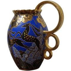 Raymond Chevalier Art Deco Boch Freres Vase / Jug Rare Antelope and Gilt Pattern