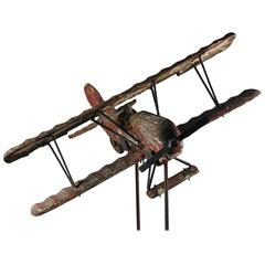 Mid-20th Century Biplane Wood and Metal Weathervane