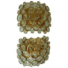 Large Pair of Gilded Brass and Crystal Sconces by Palwa