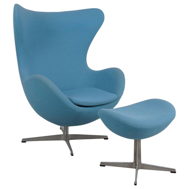 Blue Arne Jacobsen Egg Chair and Ottoman by Fritz Hansen at 1stdibs