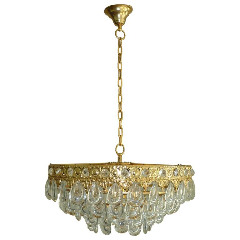 Teardrop Crystal Glass Chandelier by Palwa, circa 1970s For Sale