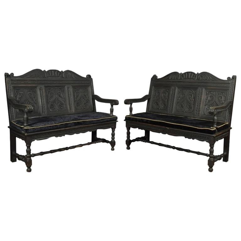 Pair of Carved Ebonized Hall Benches For Sale