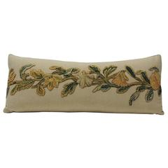 19th Century Appliqué Wool-on-Wool Embroidery Long Bolster Pillow