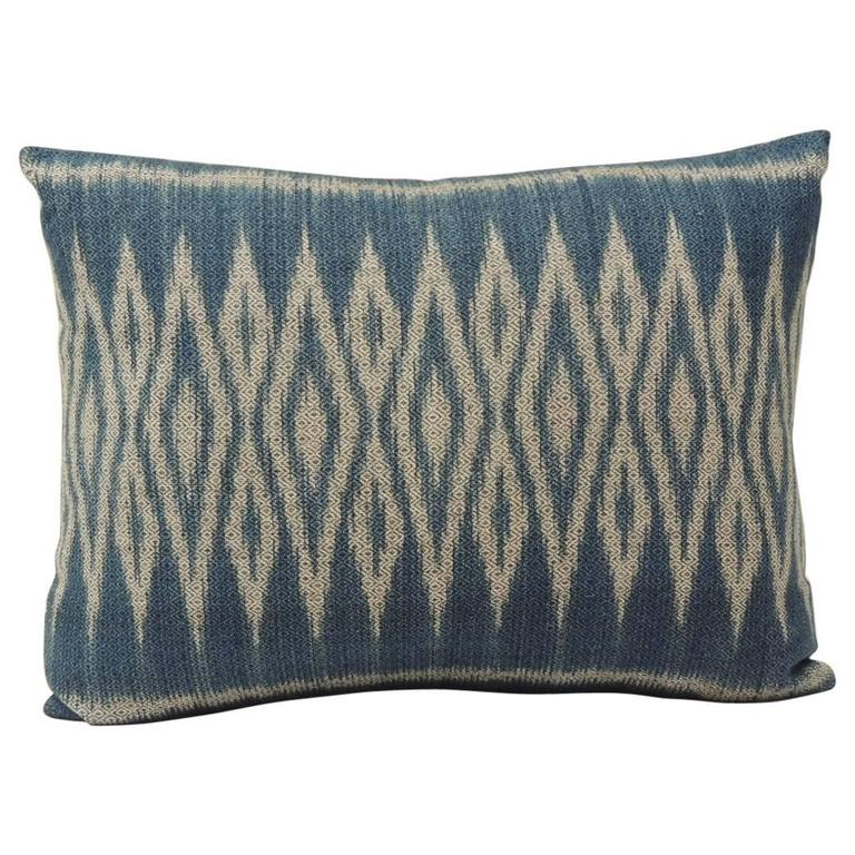 Vintage Blue and Natural Ikat Woven Decorative Lumbar Pillow at 1stdibs