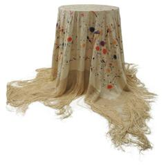 Boho-Chic Vintage Spanish Silk-on-silk Hand-Embroidered Piano Shawl