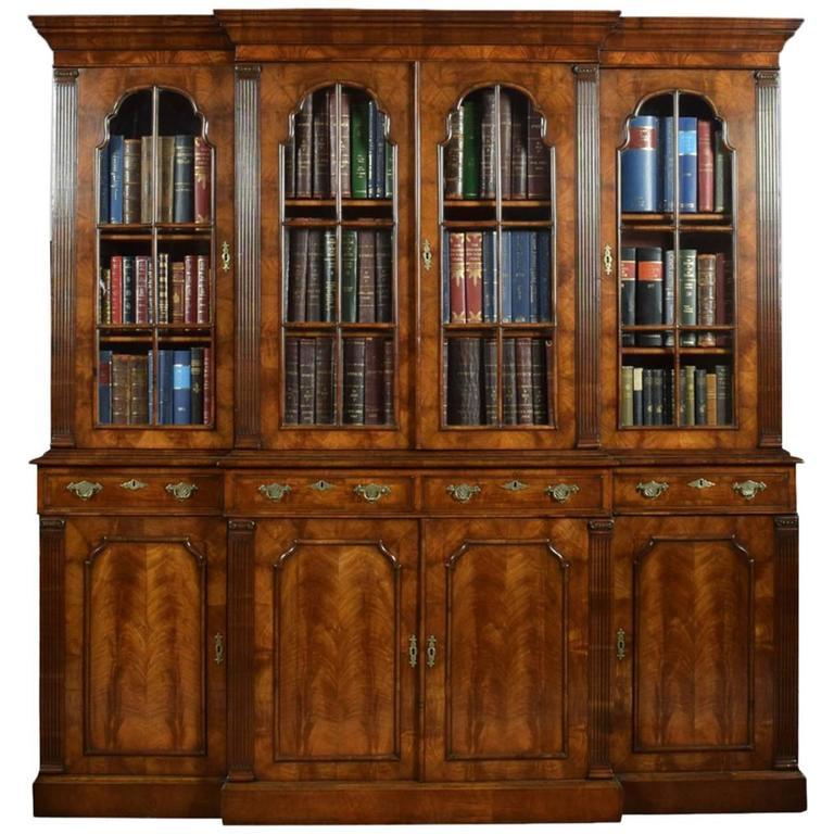 Delicieux Queen Anne Revival Walnut Four Door Breakfront Bookcase For Sale