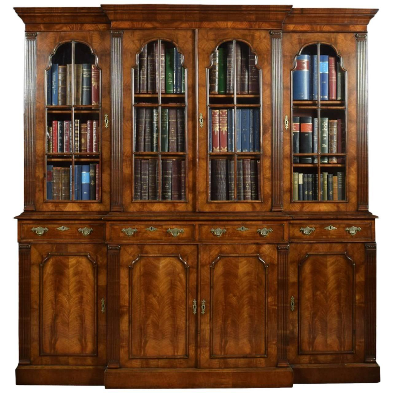 Queen Anne Revival Walnut Four Door Breakfront Bookcase For At 1stdibs