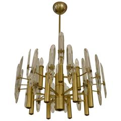 Italian Mid-Century Sciolari 12-Light Brass and Crystal Chandelier
