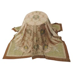 19th Century Italian Embroidery on Silk Large Square Damask Cloth