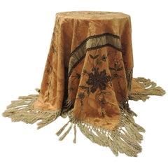 19th Century Silk Embroidery Byzantine Damask Burnt Orange Textured Finish Cloth
