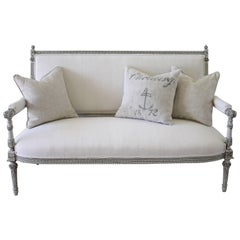 19th Century Painted Rose Carved Louis XVI Style Settee in Belgian Linen