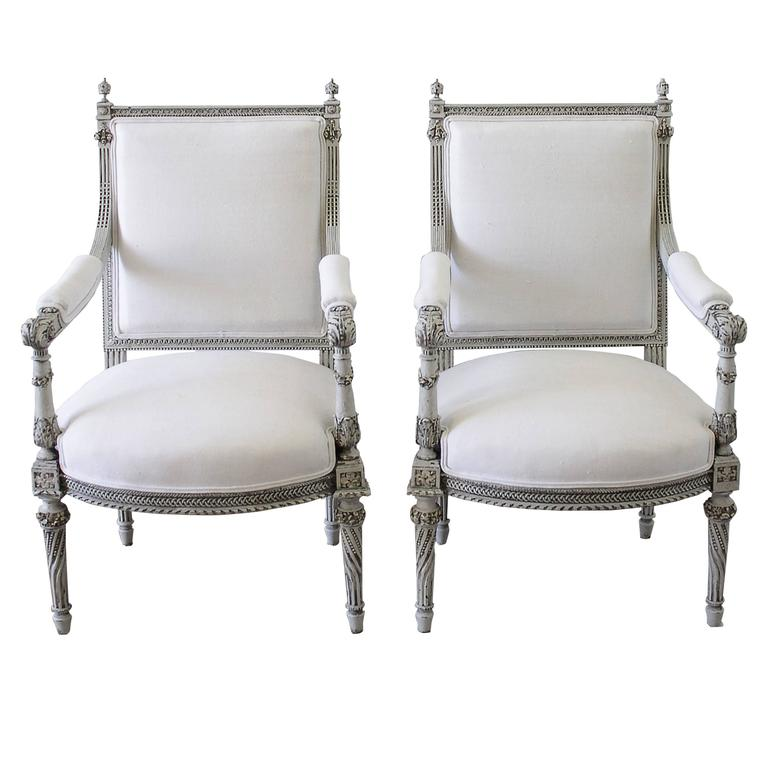 Pair Of 19th Century Painted Rose Carved Louis XVI Style Chairs In Belgian  Linen For Sale