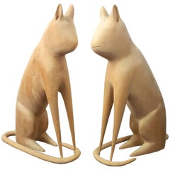 Matched Pair of Cat Carvings by Linvel Barker, Kentucky