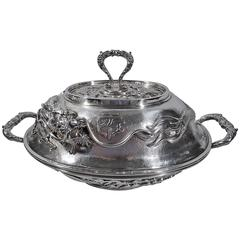 Large Japanese Sterling Silver Covered Dragon Tureen by Arthur & Bond