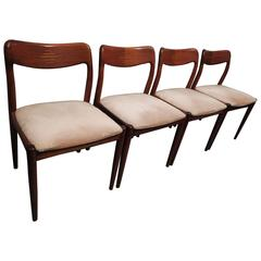 Set of Four Rosewood Inlaid Dining Chairs, Denmark, 1960s