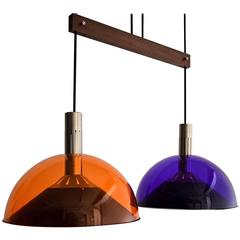Stilnovo Mid century Modern Purple and Orange Ceiling Lamp