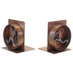 Mid-Century Modern Copper and Pewter Bookends Signed Nelson