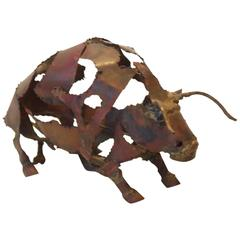 Torch-Cut Mixed Metal 'Bull' Sculpture