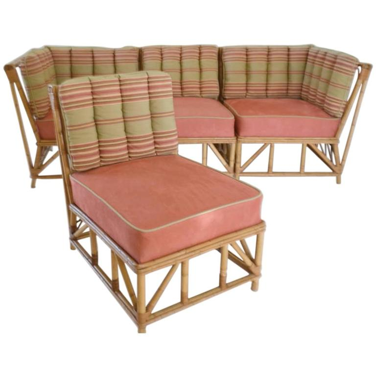Mid century bamboo sectional sofa for sale at 1stdibs for Mid century sectional sofa for sale
