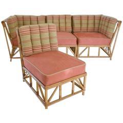 Mid-Century Bamboo Sectional Sofa