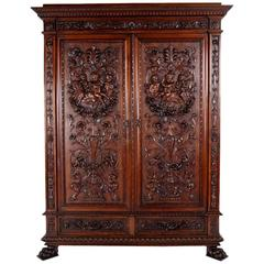 19th Century French Carved Walnut Armoire