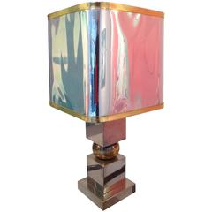 French Chrome and Brass Lamp