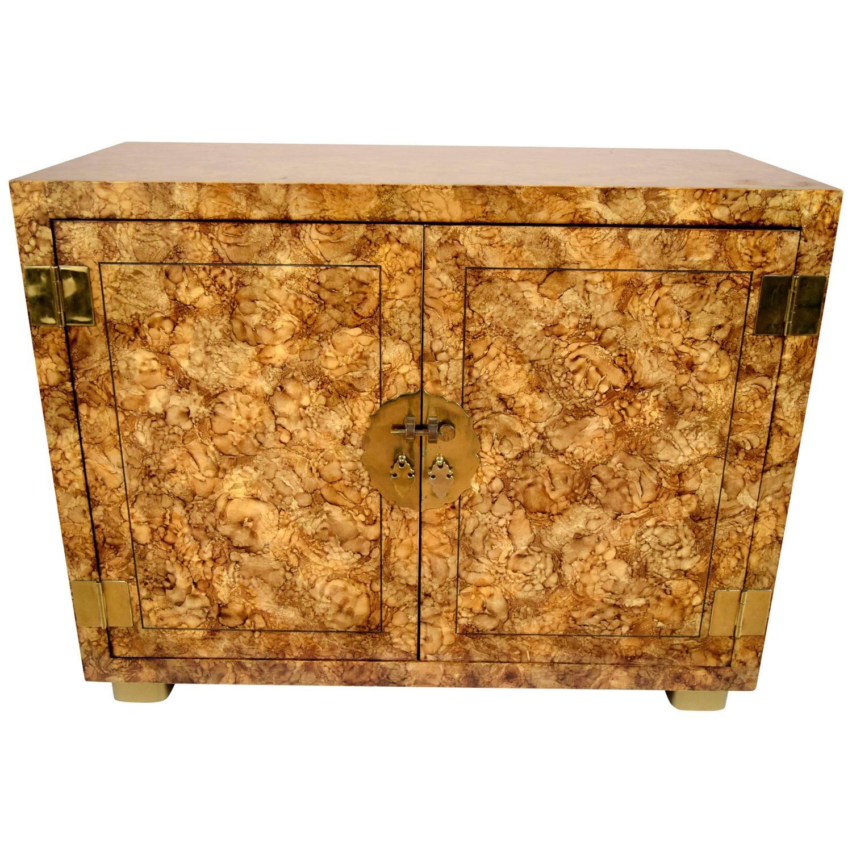vintage heritage henredon faux tortoiseshell cabinet for
