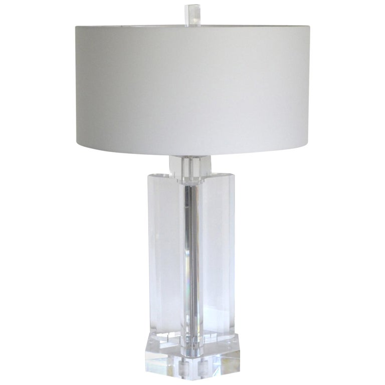 Midcentury Stunning Geometric Form Lucite Table Lamp For Sale