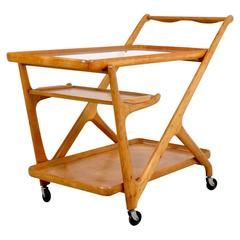 Light Walnut Cesare Lacca Tea Trolley Cart, 1950s