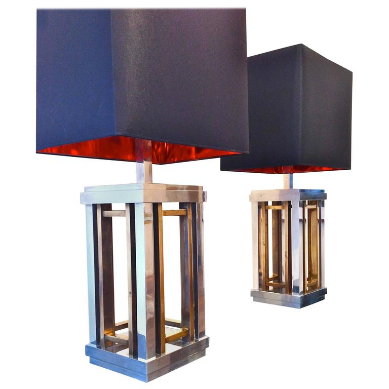 Stunning Pair of Romeo Rega Chrome and Brass Lamps