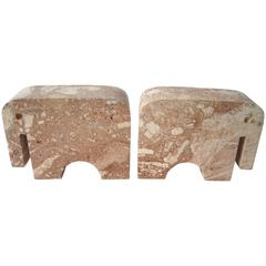 Travertine Elephant Bookends by Flli Mannelli for Raymor, Label