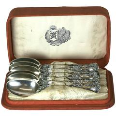 Set of Victorian Gorham Sterling Spoons in Box