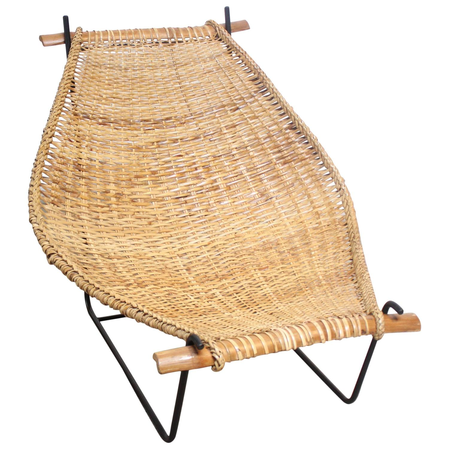 Rattan and Iron Sling Chair by Danny Ho Fong for Tropi-cal For ...