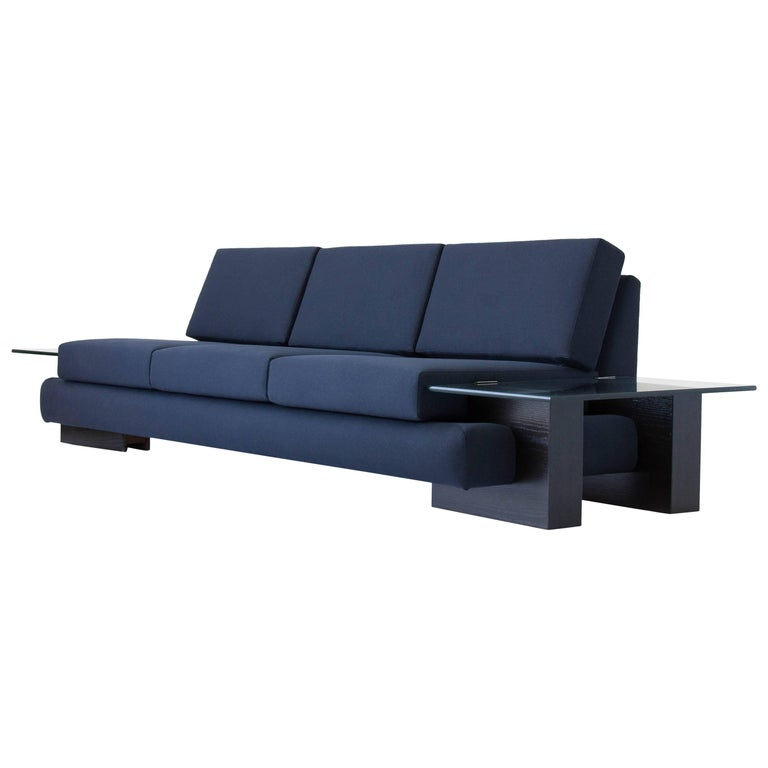 American-Made Sofa with Glass End Tables