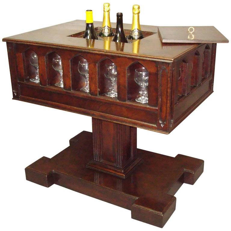 19th century gothic oak champagne or wine cooler table for