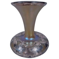 Alvin Art Nouveau Iridescent Glass Vase with Silver Overlay