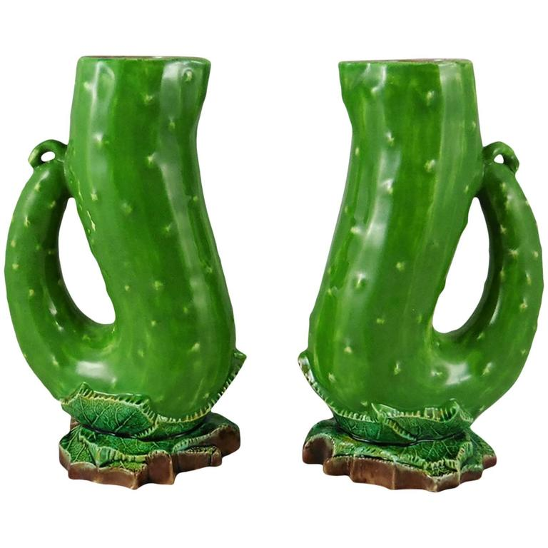 Pair of 19th Century English Majolica Pickles Pitchers