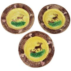 19th Century English Yellow Majolica Deers and Dogs Plates