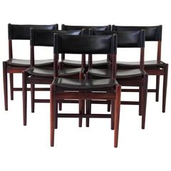 Set of Six Kurt Østervig Rosewood and Leather Dining Chairs