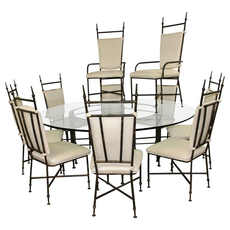 Iron Dining Set: Brutalist Iron Dining Set With Ten Chairs At 1stdibs