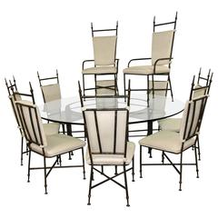 Brutalist Iron Dining Set with Ten Chairs