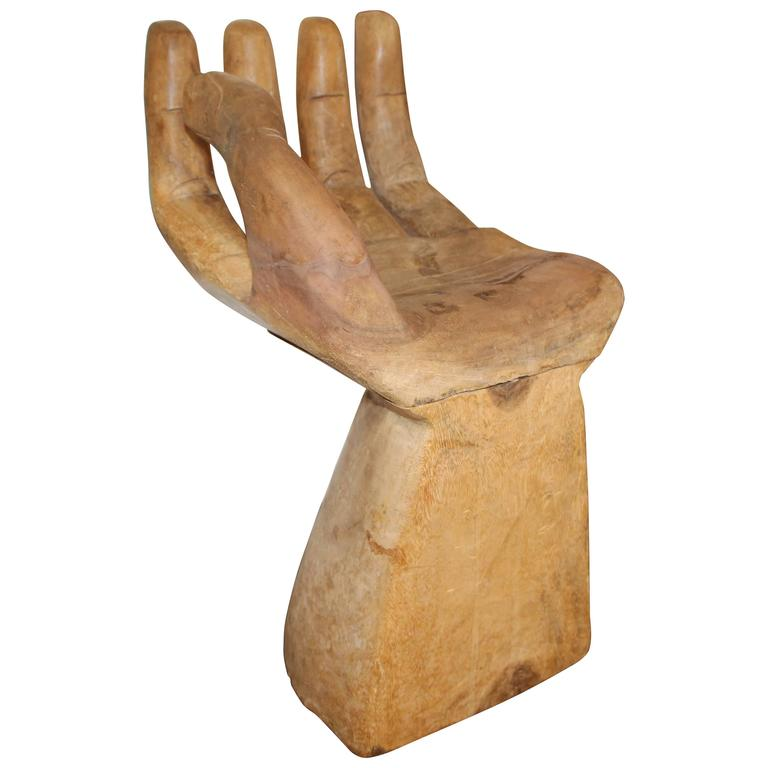 Wood sculpture of a pedro friedeberg hand chair for sale