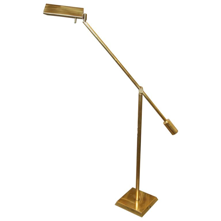 Nice Brass Adjustable Counter Weight Pharmacy Lamp Frederick Cooper or Chapman For Sale