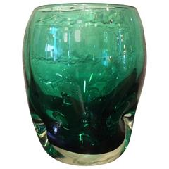 Dimpled Emerald Green Vase by Winslow Anderson for Blenko