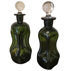 Mid-Century Dimpled Green Glass Perfume Bottles