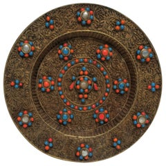 Brass and Mother of Pearl Decorative Wall Plate, Nepalese