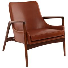 Ib Kofod-Larsen Leather and Oak Lounge Chair