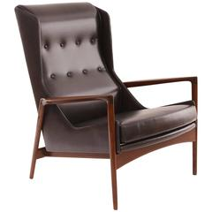 Ib Kofod-Larsen Teak and Leather Wingback Chair