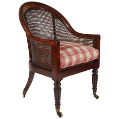 English Regency Caned Mahogany Armchair or Bergere, circa 1820