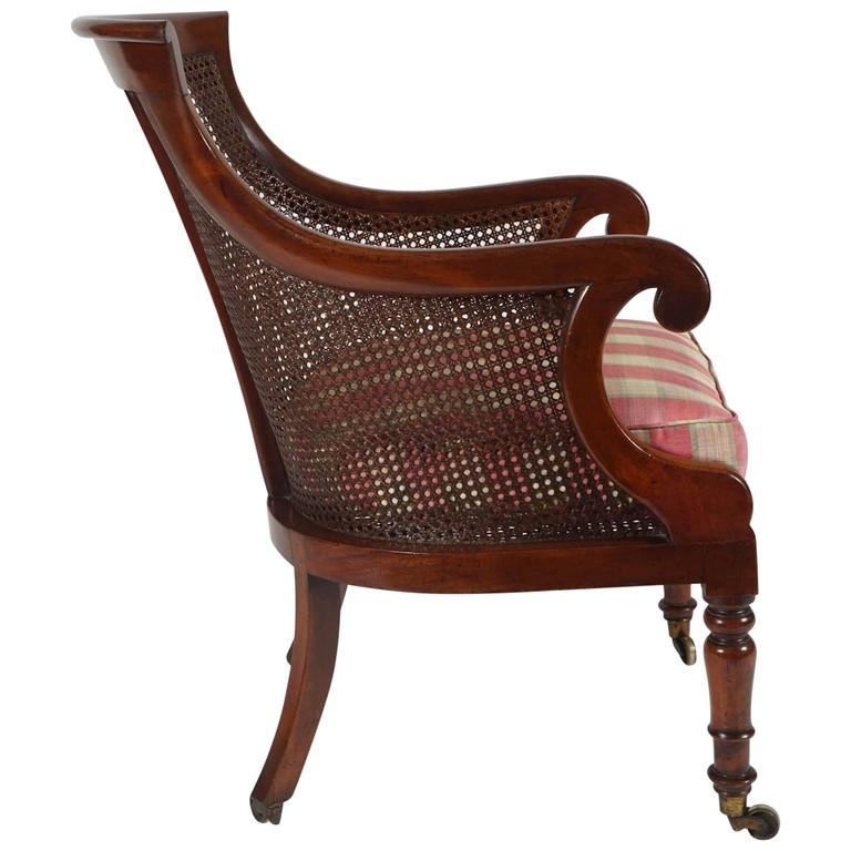 English Regency Period Caned Mahogany Armchair or Bergere, circa 1830